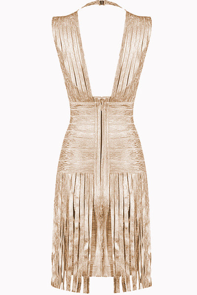 Gatsby Fringe Metallic Bandage Dress