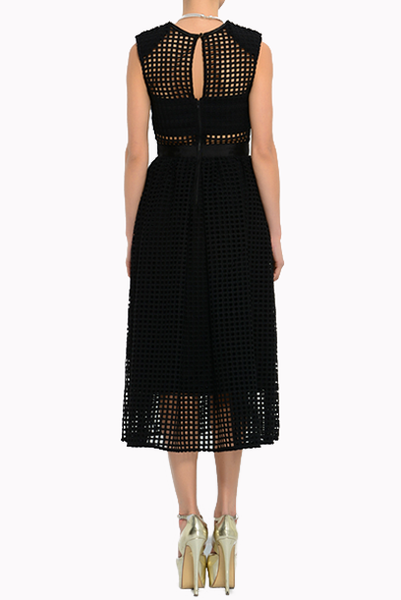 Midi Embroidered Dress In Graphic Lace Dress