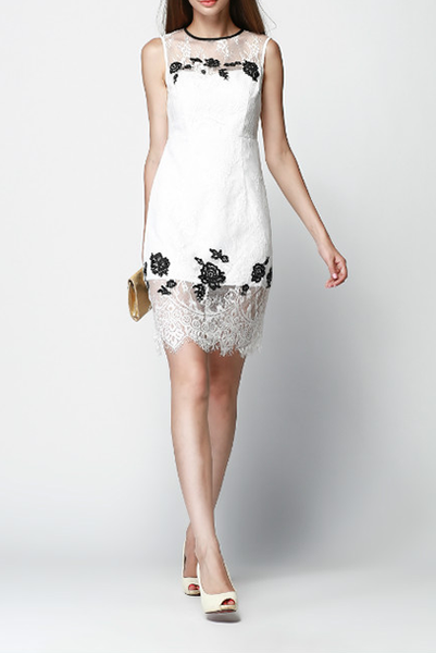 Sleeveless Lace Shift Dress