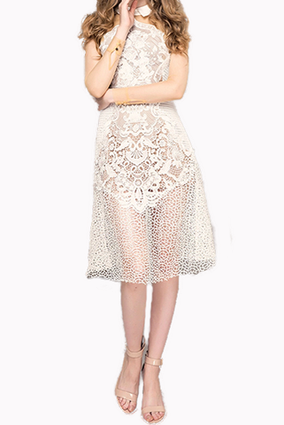 Petite Long Sleeves Tulle And Guipure Lace Midi Dress