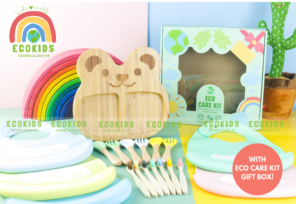 Eco friendly Bamboo Kids Plate with suction, spoon, fork, toothbrush and silicone bib