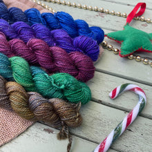 Load image into Gallery viewer, Christmas Jewels - Mini Skein Set - Gold Sparkle Sock 4 ply 100g