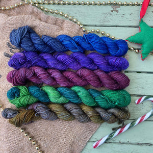 Christmas Jewels - Mini Skein Set - Gold Sparkle Sock 4 ply 100g
