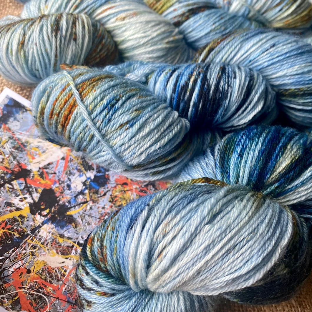 Jackson Pollock's Blue Poles - Superwash Merino 4 ply