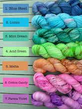 Load image into Gallery viewer, Semi-Solid Speckled Rainbow Range - Superwash Merino 4 ply