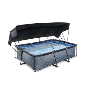 EXIT Stone pool 220x150x65cm, 300x200x65cm with canopy and filter pump - grey