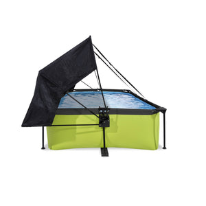 EXIT Lime pool 220x150x65cm, 300x200x65cm with canopy and filter pump - green