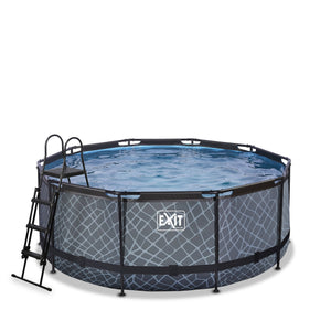 EXIT Stone pool with sand filter pump - grey