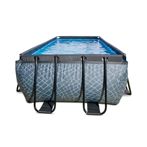 EXIT Stone pool 400x200x122cm, 540x250x122cm with sand filter pump - grey