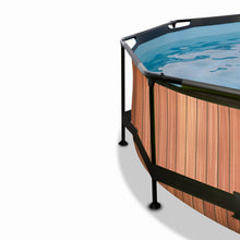 Load image into Gallery viewer, EXIT Wood pool ø244x76cm, ø300x76cm, ø360x76cm with canopy and filter pump - brown