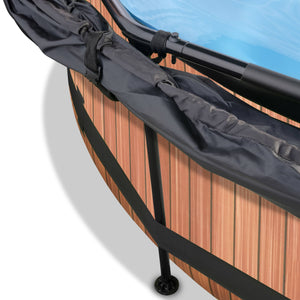EXIT Wood pool ø244x76cm, ø300x76cm, ø360x76cm with canopy and filter pump - brown