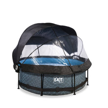 Load image into Gallery viewer, EXIT Stone pool ø244x76cm, ø300x76cm, ø360x76cm with dome, canopy and filter pump - grey