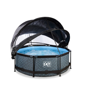 EXIT Stone pool ø244x76cm, ø300x76cm, ø360x76cm with dome, canopy and filter pump - grey