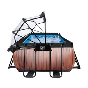 EXIT Wood pool 400x200x100cm, 540x250x100cm with dome and sand filter pump - brown