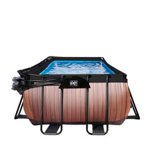 Load image into Gallery viewer, EXIT Wood pool 400x200x100cm, 540x250x100cm with dome and sand filter pump - brown
