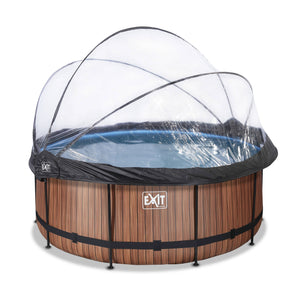 EXIT Wood pool with dome and sand filter and heat pump - brown