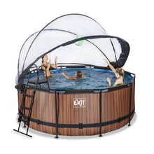Load image into Gallery viewer, EXIT Wood pool with dome and sand filter and heat pump - brown