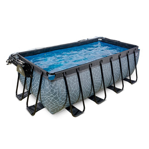 EXIT Stone pool 400x200x122cm, 540x250x122cm with dome and sand filter pump - grey