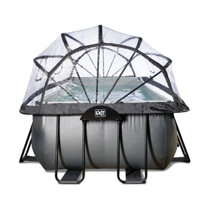 EXIT Black Leather pool 540x250x122cm with dome and sand filter and heat pump - black