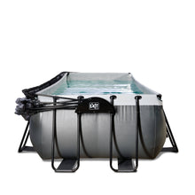 Load image into Gallery viewer, EXIT Black Leather pool 540x250x122cm with dome and sand filter and heat pump - black