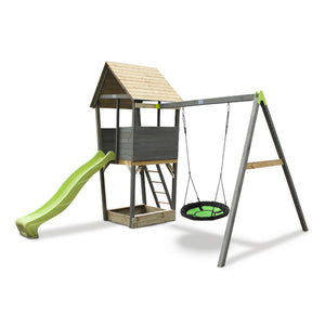 EXIT Aksent wooden play tower with a nest swing - grey