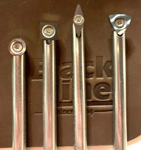 BlackLine MINI 5pc Carbide Chisel Set In Leather Tool Rolls (Aluminium Handle & 4 Shafts & Cutters)