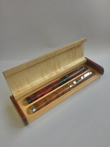 Wooden Pen Box, Two Tone Double