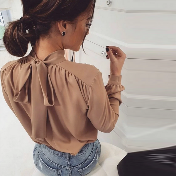 Women Office Lady Back Bow Bandage Blouse Long Sleeve Stand Collar Solid Elegant Casual Shirts 2020 Autumn New Fashion Blouse