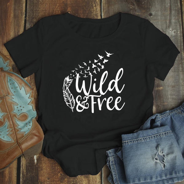 Wild & Free Feather T-shirt Aesthetic Summer 90s Boho Graphic Tee Shirt Top Women Fashion Hippie Outdoor Tshirt Drop Shipping