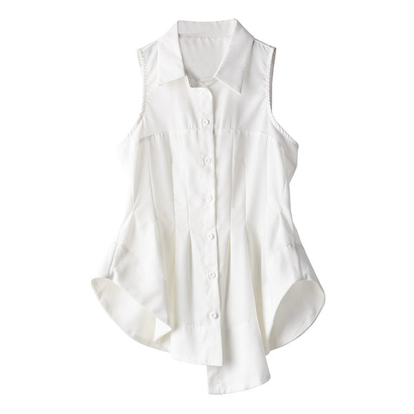 [EAM] Women White Pleated Irregular Stitch Blouse New Lapel Sleeveless Loose Fit Shirt Fashion Tide Spring Summer 2020 1T97600