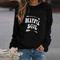 Sweatshirts Women Plus Size Hippie Soul Letter Print Harajuku O Neck Long Sleeve Casual Loose Pullover Female Blouse Sudadera
