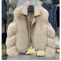Fashion Real Fox Fur Coats With Genuine Sheepskin Leather Wholeskin Natural Fox Fur Jacket Outwear Luxury Women 2020 Winter New