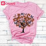 Woman Butterfly Tree Print Harajuku Summer Tshirts Casual Round Neck Short Sleeve