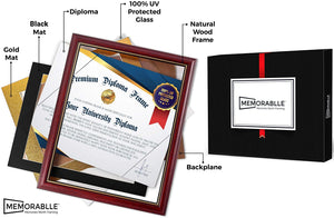 Diploma Frame - Real Wood and UV Protected Black - Memorablle