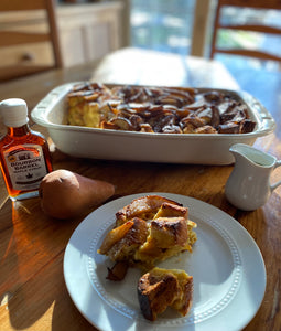 Challah French Toast Casserole (w/Maple Glazed Pears)