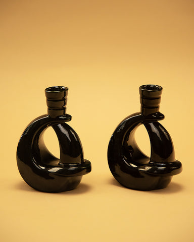 I'm Twisted Black Candle Holders