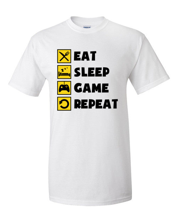 281a5e3afb9 Eat Sleep Game Repeat Console T-Shirt - Prestige Clips