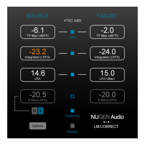 NUGEN Audio LM-Correct Loudness Quick-Fix with DynApt Extension