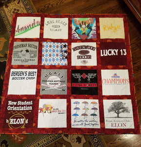Memories sports, vacation, and college come together  in this special quilt.