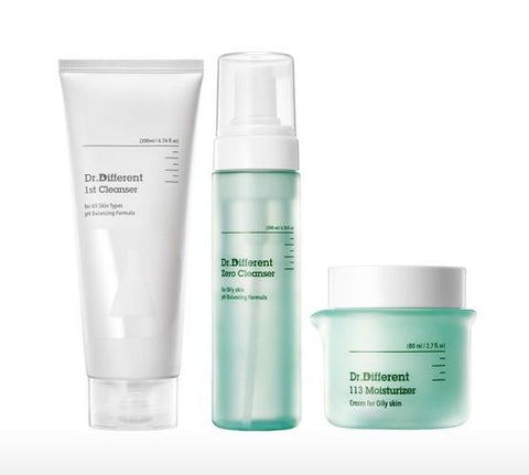 [Dr.Different] Double Cleanser + Moisturizer Set for Oily Skin