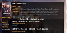 "Load image into Gallery viewer, ""The rookie"" last episode"