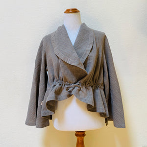 Jacket 2192E 6B - Size 6 - Grey / Light Brown Stripes
