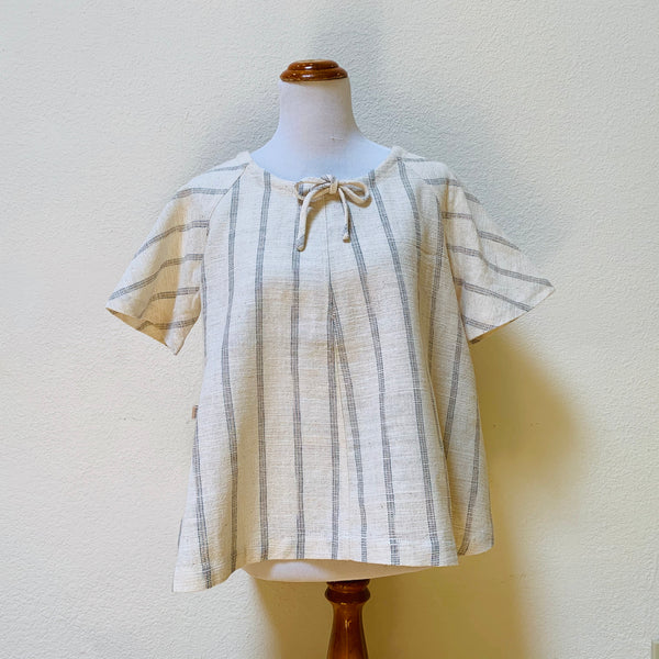 Short Sleeve Hemp Shirt 1291F 2D - Size 2 - Natural White With Indigo / Beige Stripes