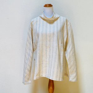 Turtleneck Long Sleeve Pullover Shirt Unisex 1312E 6A - Size 6 - Natural White With Indigo / Brown Stripes