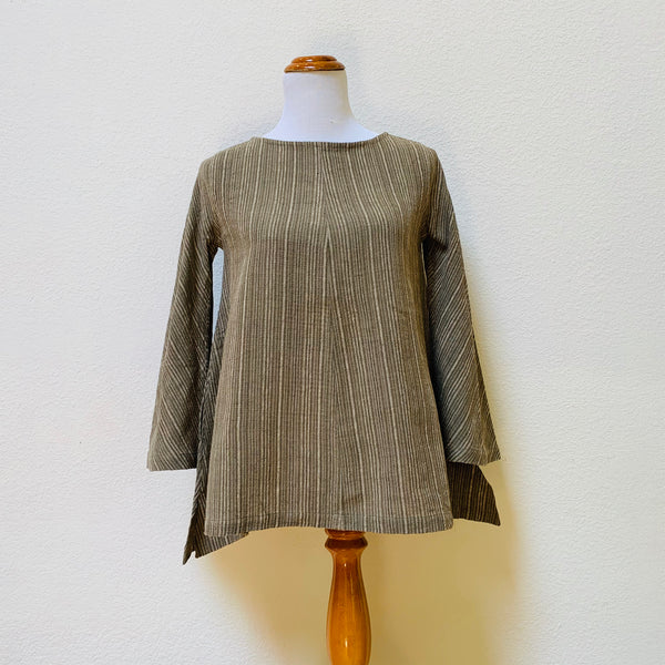 A-Line Long Sleeve Shirt 1198AC 2E - Size 2 - Olive Green / Natural White Stripes