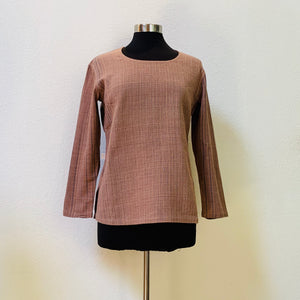 Round-Neck Long Sleeve Shirt 1164E 4G - Size 4 - Brown / Indigo