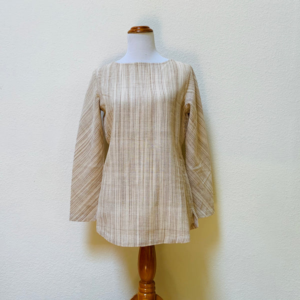 Long Sleeve Tunic 1199L 4B - Size 4 - Beige / Natural White Stripes