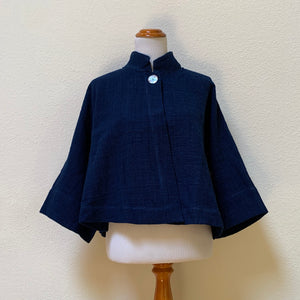 Banded Collar Shell Button Short Jacket 2219K 6D - Size 6 - Indigo
