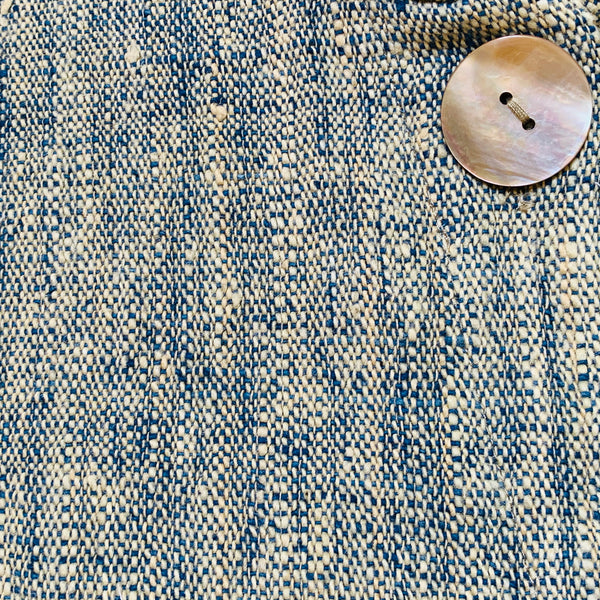 Banded Collar Shell Button Short Jacket 2219K 4B - Size 4 - Light Indigo