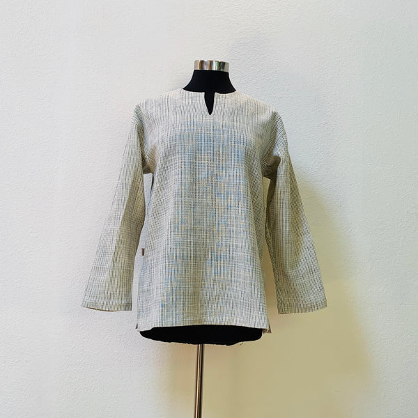 Key-Neck Pullover Shirt, Silk & Cotton Blend Unisex 1223R 4B - Size 4 - Natural White / Indigo / Ebony Plaid
